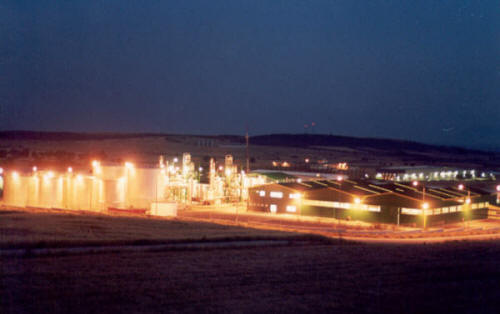 Green Oil Refinery at Night